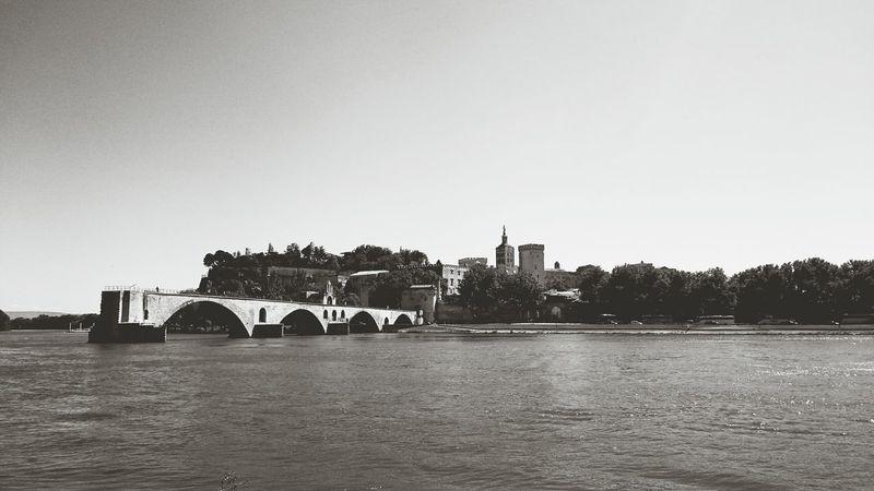 Avignon Avignon City France Blue Sky Blackandwhite Blackandwhite Photography Castle Bridge Water Point Of View Monuments Travel