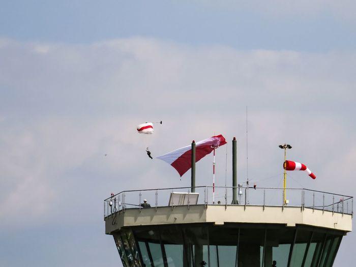 Airshow parachuting Parachutism Parachuting Parachutist Airshow Poland Polishflag Whiteandred