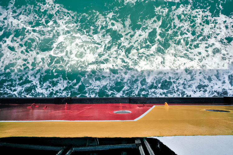 Water Nautical Vessel Sea Mode Of Transportation Motion Transportation No People Wave Nature Outdoors High Angle View Sea Travel Ferry Boat Ship Travel