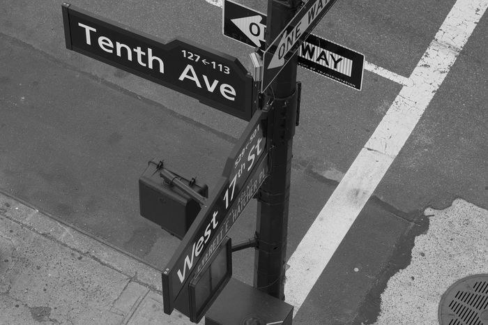 Cross streets. Black And White Photography Monochrome NYC Photography Nyc Streets Street Signs One Way Looking Down NYC 365project Sony A6000