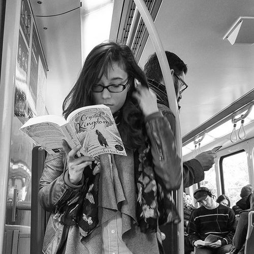 She stood against the railing as the train ambled - clickety clack. Lost in a world of words & twirling her hair - front to back. Mind gone blank, camera in hand across from her - there I sat. A nameless girl lost in these pages printed - white and black. . My Transport Street Series.... love seeing people reading actual books! Blackandwhite Blackandwhitephotography Blackandwhitelove Insta_bw Bnw_society Bnw Bnw_australia Bnw_captures Bnw_city The_lady_bnw MichaelsCamera TheCreatorClass Postthepeople Bnw_life Streetlife_mag