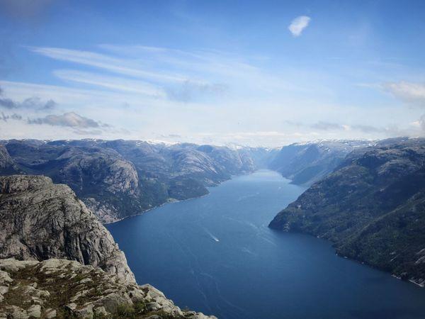 Fjord Landscape Lysefjord Norway Preikestolen Sea Stavanger View