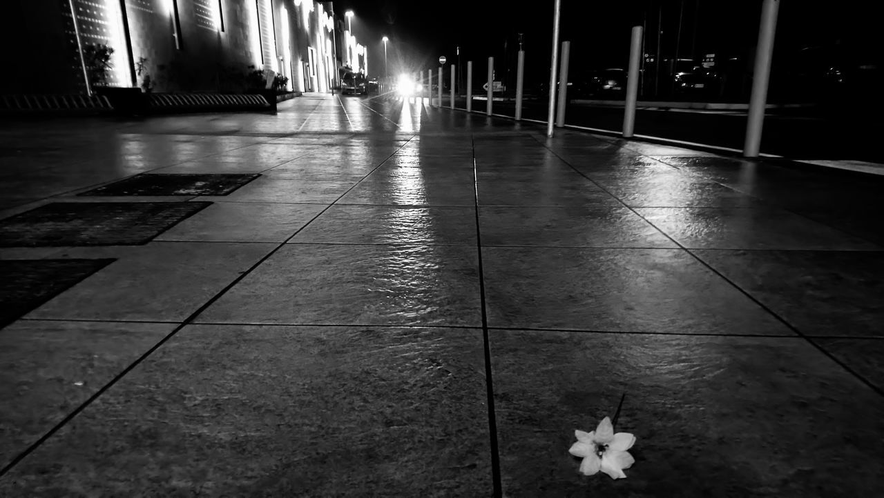 flooring, tile, tiled floor, no people, indoors, architecture, night, illuminated, reflection, built structure, empty, absence, footpath, building, wet, lighting equipment, nature, direction