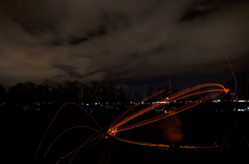 Fasnetfeuer und Scheibenschlagen in Weil am Rhein - Haltingen Cloud - Sky Sky Night Illuminated Motion Long Exposure Nature No People Blurred Motion Car Mode Of Transportation Road City Dusk Dark Light Trail Outdoors Street Fasnet Fasnacht Lighttrails Fire Firework - Man Made Object