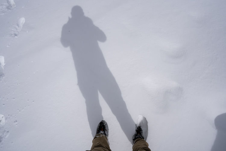 Low section of person standing on snow covered field