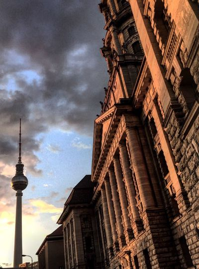 Wave of structure Berlin Fernsehturm Jüdenstraße Sunset Architecture Modern Old Collage Summer Clouds And Sky Orange Color Wave Pivotal Ideas