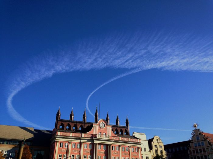 Townhall Rostock Architecture Blue Building Building Exterior Built Structure City Cloud - Sky Day History House Low Angle View Nature No People Outdoors Residential District Sky Sunlight The Past Vapor Trail Summer Exploratorium My Best Photo
