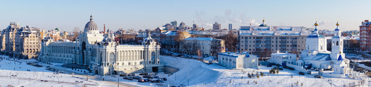 Panoramic view of buildings in city during winter