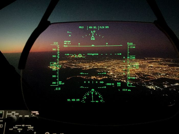 View of Doha city through the HUD of a Boeing787 Aviationphotography Boeing787 #Airial Photography Doha,Qatar #city Lights