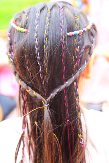 Rear View Focus On Foreground Human Hair Braided Hairstyle Real People Multi Colored One Person Close-up Day Outdoors Human Hand People