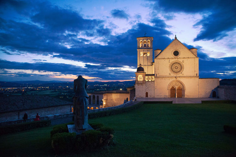 Architecture Assisi Building Exterior Cathedral Catholic City Cloud - Sky Grass History Horizontal Italy Landscape Medieval Night No People Outdoors Pilgrimage Place Of Worship Prayers Saint Francis Of Assisi Sky Sunset Travel Destinations Vacations