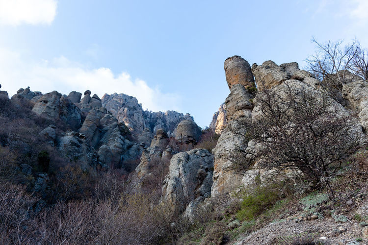 Sky Rock Rock - Object Nature Beauty In Nature Rock Formation Solid Scenics - Nature Tranquil Scene Tranquility No People Plant Cloud - Sky Mountain Environment Day Low Angle View Non-urban Scene Tree Land Outdoors Formation Arid Climate Eroded