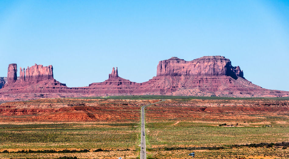 Monument valley against clear sky