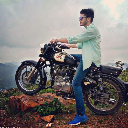 Biker Headwear Men Motorcycle Eyeglasses  Standing Portrait Masculinity Full Length Macho