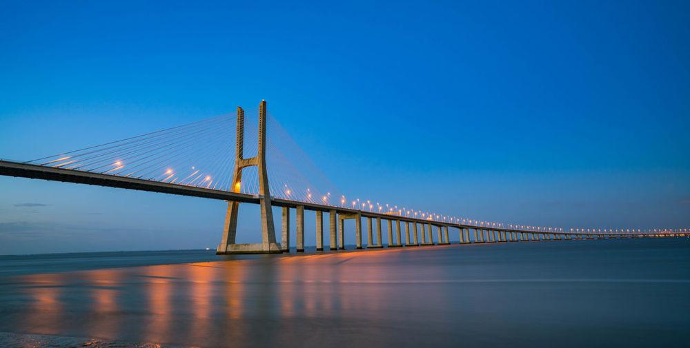 View Of Suspension Bridge Against Blue Sky