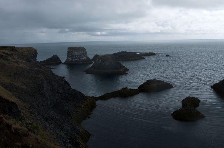 Cliff Coastline Horizon Over Water Iceland Ocean