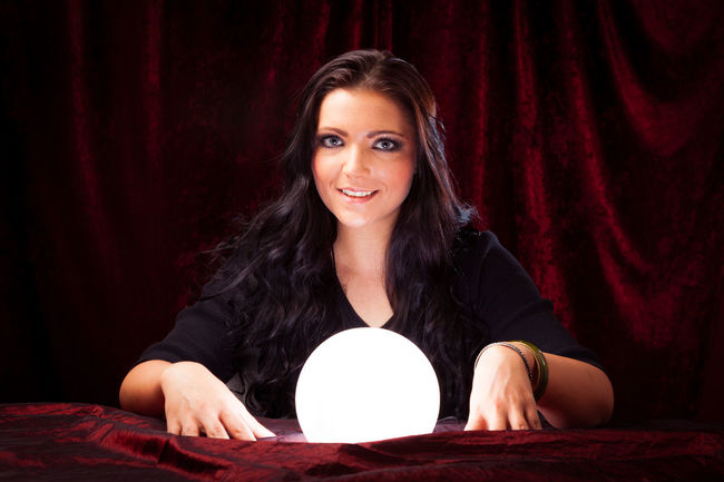 Psychic reading your future Crystal Ball Fortune Telling Witchcraft  Brunette Charlatan Clairvoyance Forecast Fortune Teller Future Indoors  Magic Magick Medium One Person People Psychic Psychic Medium Witch Women Young Adult