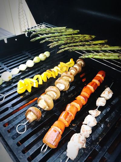 Onion Chicken Meat Mushroom Pepper Asparagus Food Food And Drink Freshness Still Life High Angle View Ready-to-eat No People Barbecue Barbecue Grill Wellbeing Close-up