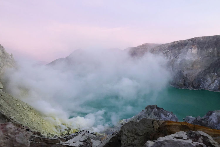Volcanic mountain against sky