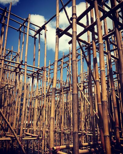 Low Angle View Of Scaffoldings Against Sky