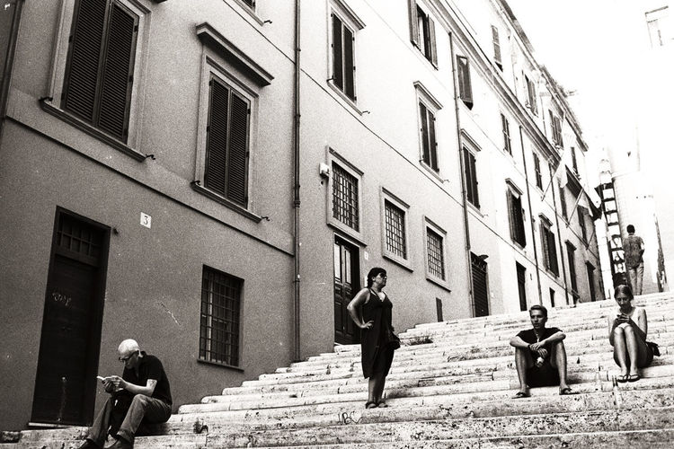 Roman Holidays Analogue Photography Moving Around Rome Nikon F3 Rome Stairs Unretouched Photography Black And White Building Exterior Day Film Photography Ilford Italy Outdoors People Real People Streetphotography My Best Photo