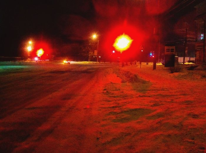 Street Red Light Evening Weather Snow Cold Cold Temperature Snow Covered