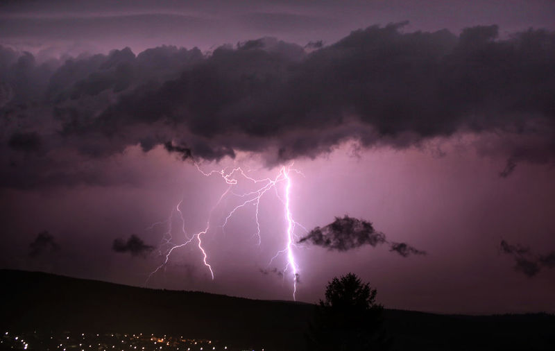 Lightnings over Main Kinzig Kreis Storm Lightning Cloud - Sky Beauty In Nature Power In Nature Thunderstorm Sky Power Nature Storm Cloud Warning Sign Dramatic Sky Forked Lightning Night Scenics - Nature No People Communication Sign Silhouette Outdoors Purple Ominous