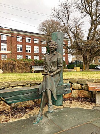 Rachel Carson Statue in Plymouth Massachusetts Statue Art And Craft Sculpture Human Representation Male Likeness Architecture Built Structure Outdoors Day No People Building Exterior Tree Sky Plymouth Massachusetts Plymouth Rachel Carson