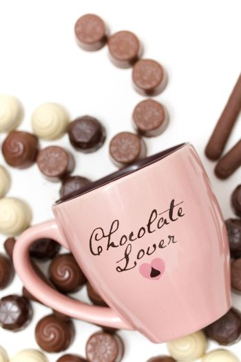 pink mug of a chocolate lover Chocolate Coffee Lover No People Pink Cup Pink Mug Truffles White Background