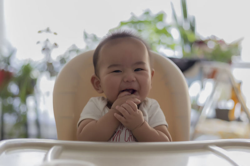 Portrait of baby boy sitting on chair