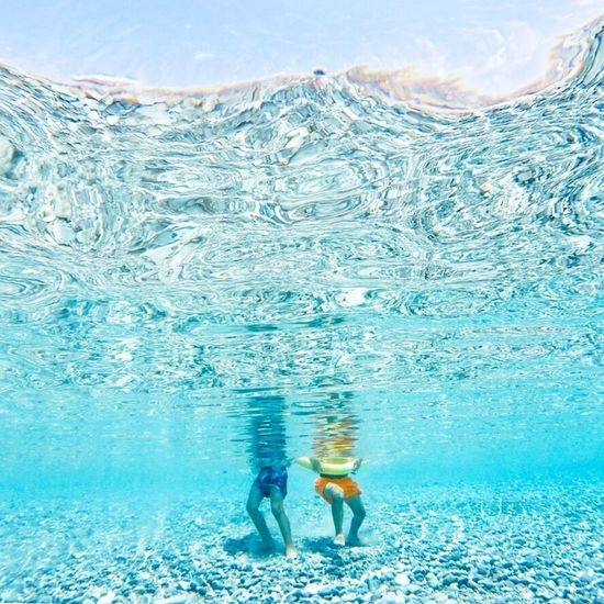 First steps Swimming Sea Light Capture Tomorrow Blue Togetherness
