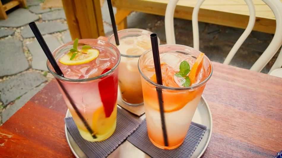 Close-up Cocktail Cold Temperature Drink Drinking Glass Food Food And Drink Freshness Fruit Glass Herb High Angle View Household Equipment No People Ready-to-eat Refreshment Still Life Table Temptation Wellbeing Wood - Material