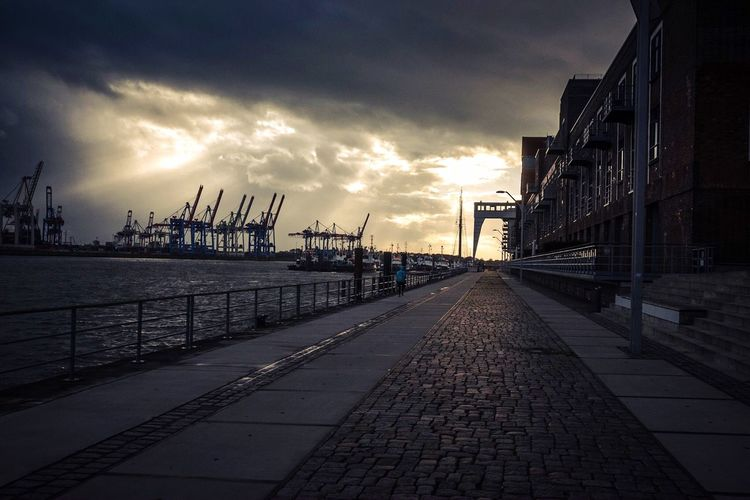 Dramatic Sky Sunny Sun Blur Scenic View Shades Dramatic Sky Drama Cranss Architecture Landscape Dockland Docks Sky Cloud - Sky Harbor Outdoors Sea Architecture No People Shipyard Day Water Nature Commercial Dock Building Exterior City Sunset