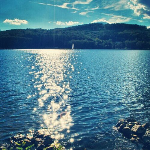 Prigl Brno Dam Bank blue water waves sky clouds sun reflection forest trees hills yacht boat sail view landscapes outdoors nikon