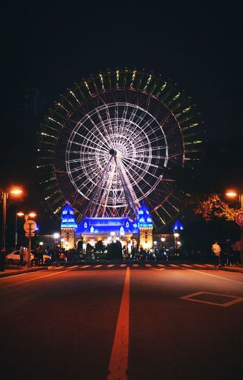Sky Wheel Night Amusement Park Ferris Wheel Arts Culture And Entertainment Amusement Park Ride Carousel No People Nightlife Outdoors Concentric Long Exposure Illuminated Circle Sky Colorful