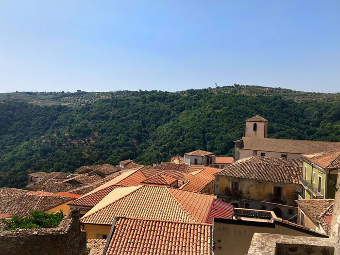 At the top of Squillace Birds Eye View Red Roofs Italy Architecture Roof Building Exterior Built Structure House Building Tree Sky Plant Nature Clear Sky Day No People High Angle View Roof Tile Outdoors Landscape Mountain