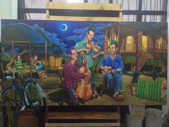 Trio malam raya - acrilyc on canvas - 8x5 ft - 2014 Painting Keroncong