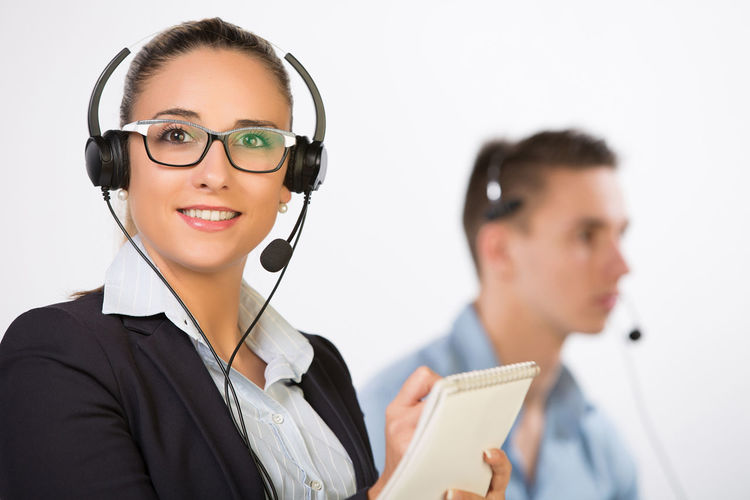 Business Call Center Corporate Desk Executive  Headphones Internet Lifestyle Man Office Woman Worker