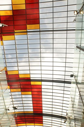 Abstract window Amsterdam Station Yellow Red Architecture Built Structure Pattern No People Building Exterior Glass - Material Low Angle View Reflection Building Multi Colored Modern Backgrounds Striped Full Frame Transparent Ceiling