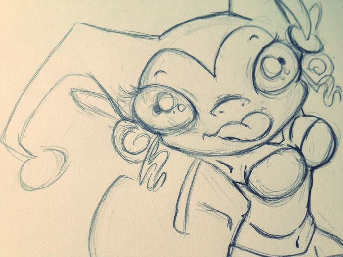 Working on a Harley Quinn commission piece.. Holy crap someone actually wants to pay me D: lol Art Doodle Wip Cartoon Cute Sketch Harley Quinn Commissionwork Creepy Drawing