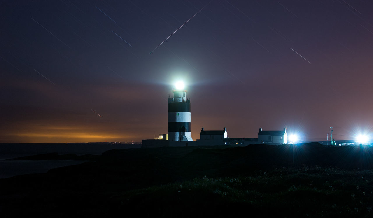 Perseids meteor shower last night at Hook head lighthouse, County Wexford, Ireland. 10 minute exposure, no filter. Night Lighthouse Star - Space Constellation Astronomy Sky Illuminated Sea Building Exterior The Week On EyeEm Twilight Backgrounds Dramatic Sky Moody Sky Lighthouses Travel Destinations Shooting Stars MeteorIreland🍀 Hook Head, Ireland Night Photography Long Exposure Astronomy Photography Outdoors EyeEm Best Shots Your Ticket To Europe
