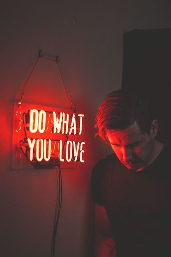 Do what you love! neon life Neon Portrait Neon Lights Neon Red Text Communication Illuminated Western Script Wall - Building Feature Neon Indoors  Sign Night Lighting Equipment Glowing Close-up Orange Color Message Information Built Structure No People Leisure Activity Capital Letter