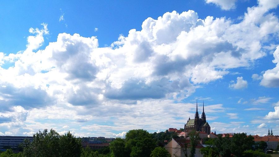 Church City My City Symbol Of My City Petrov Brno Tower Sky Sky And Clouds Blue Sky Cloud Clouds And Sky High Angle View Trees Houses Taken On Mobile Device