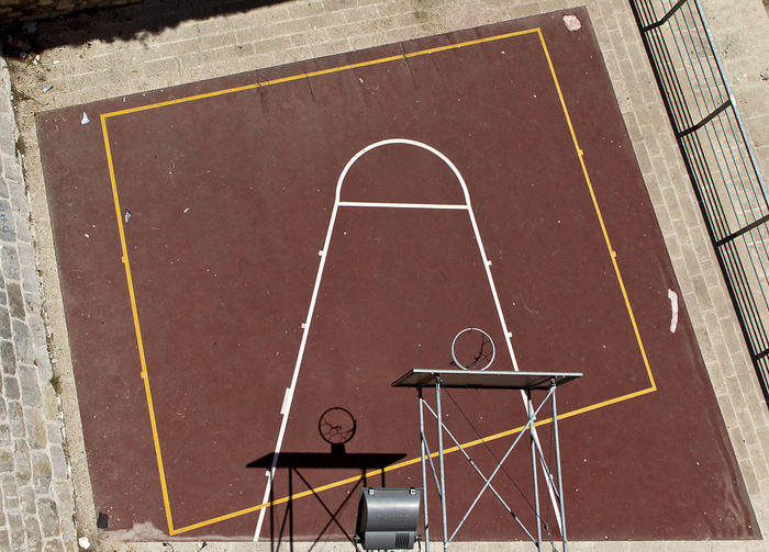High Angle View Of Basketball Hoops