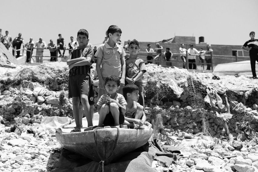 Palestinian boys from Beach camp Gaza watching the sea Beach Beach Camping Bored Children Gaza-Palestine Israel Palestine Sea