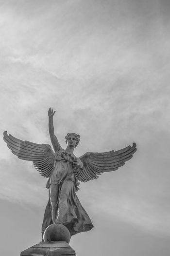 Angel Angels Day Human Representation Mont Royal No People Outdoors Religion Sculpture Sky Statue Wings
