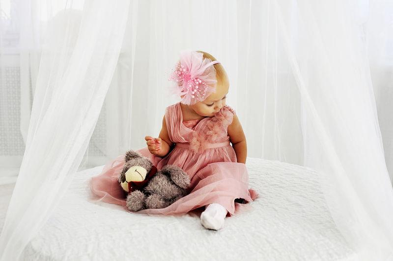 Baby Babygirl Bear Beautiful Childhood Children Dress Home Person Tenderness Young Women