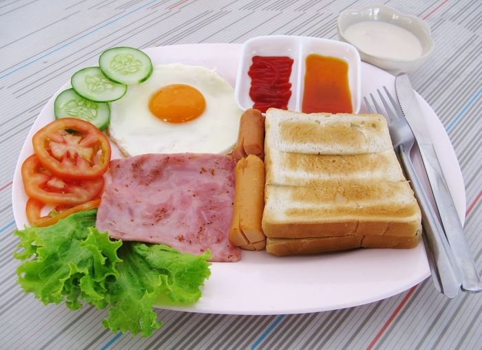 Close-Up Of Breakfast Served In Plate