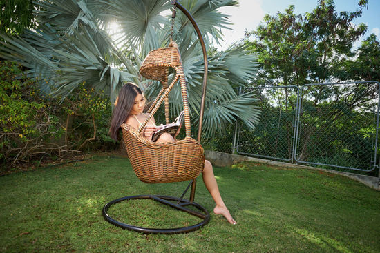 a summer's read Green Color Rattan Summer Reading Tropics barefoot Bikini Blue Blue Sky Brunette Clouds Enjoyment Front Or Back Yard Full Length Guam Leisure Activity Nature One Person Outdoors Palm Tree Plant Rattan Chair Real People Summer Yellow Young Women