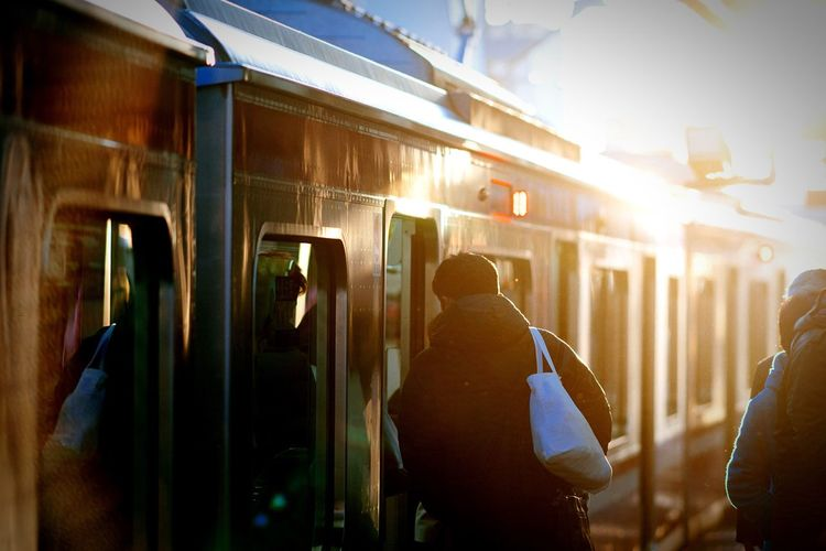 Rear view of man standing by train at platform during sunny day